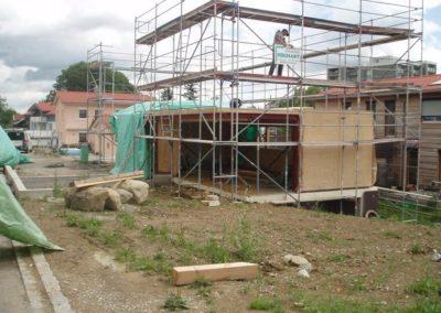 Baustelle eines Holzhauses, Holzbau Zimmerei Reichart