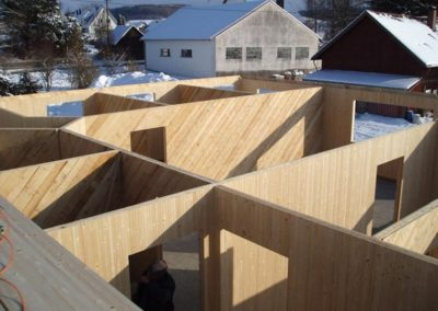 Baustelle im Winter, Holzbau Zimmerei Reichart
