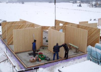 Holzbau Zimmerei Reichart, Baustelle eines Holzhauses